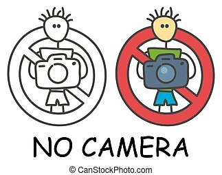 Funny vector stick man with a camera in children's style. No...