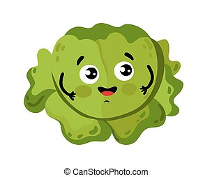 Funny vegetable cabbage cartoon character