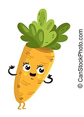 Funny vegetable carrot cartoon character