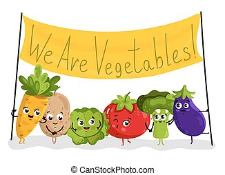 Funny vegetable isolated cartoon characters