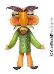 Funny vegetable man with big eyebrows