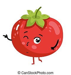 Funny vegetable tomato cartoon character