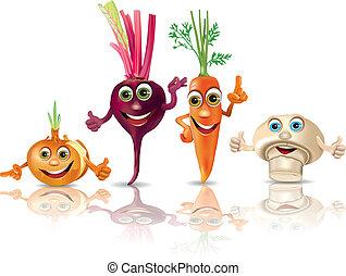 Funny vegetables onion, beet, carrot, mushroom