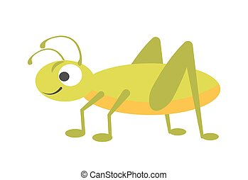 Funny vigorous grasshopper with big eye and long legs -...