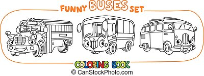 Funny vintage buses with eyes. Coloring book set - Vintage ...
