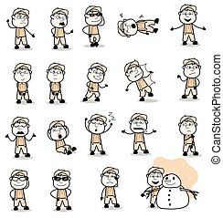 Funny Vintage Carpenter Character Poses - Set of Concepts Vector illustrations
