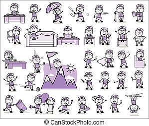 Funny Vintage Carpenter Character - Set of Concepts Vector illustrations