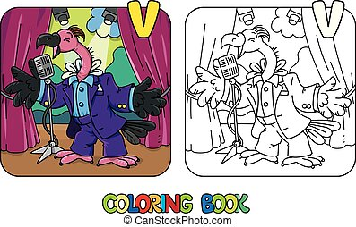 Funny vulture singer or vocalist ABC coloring book - Vulture...
