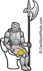 Funny warrior toilet - Funny draw of warrior toilet