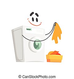 Funny washing machine character with smiling face, humanized home electrical equipment vector Illustration