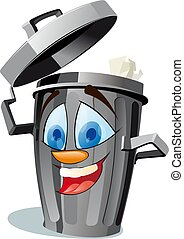 funny wastebasket - A funny trash canfully removes his cover...