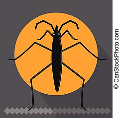 Funny Water Strider Insect Vector Illustration