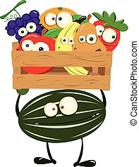 Funny Watermelon with a Box of Fruit - a vector cartoon...