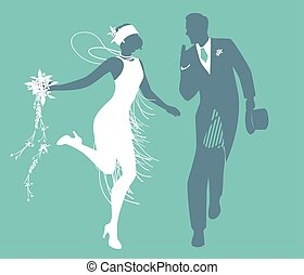 Funny wedding couple dressed vintage style wedding clothes dancing in retro style