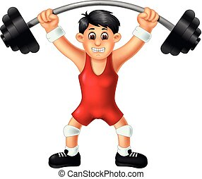 Funny Weightlifter In Red Costume Cartoon