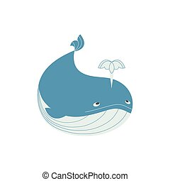 Funny whale icon - Blue whale icon. Cute cartoon flat sign...