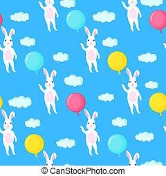 Funny white bunny with a balloon. Rabbit and clouds seamless pattern