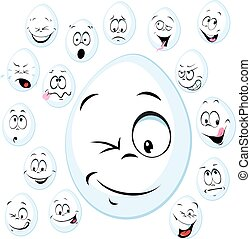 funny white egg with face - vector cartoon illustration