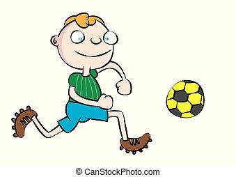 funny white school boy playing soccer