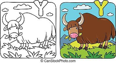 Funny wild yak coloring book. Alphabet Y