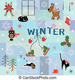 Funny winter background