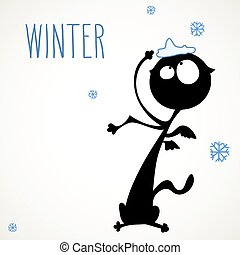 Funny winter cat