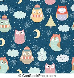 Funny winter owls at night seamless pattern