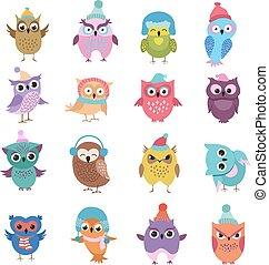 Funny winter owls birds cartoon vector characters