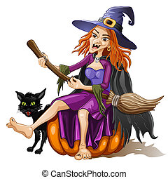 Funny witch sits on a pumpkin with