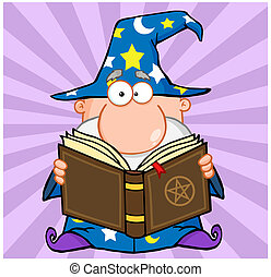 Funny Wizard Holding A Magic Book Cartoon Character
