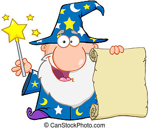 Funny Wizard Holding Up A Scroll - Funny Wizard Waving With...