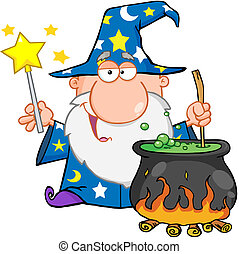 Funny Wizard Preparing A Potion - Funny Wizard Waving With...