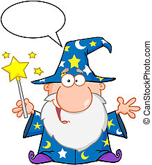Funny Wizard Waving With Magic Wand And Speech Bubble