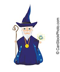 Funny wizard with a magic ball and a wand