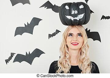 Funny woman celebrating Halloween