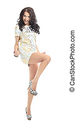 funny woman excited standing in light dress