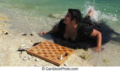 Funny Woman Having Fun On The Shore