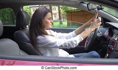 Funny Woman Making Selfie Inside the Car.