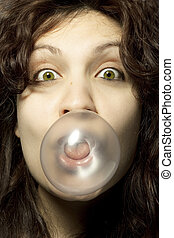 Woman with Bubblegum