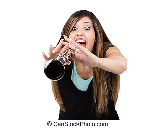 Funny woman with clarinet