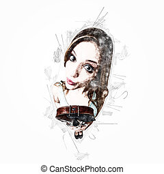 Funny woman with violin