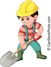 Funny Worker With Shovel Cartoon