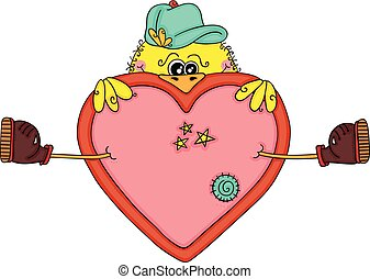 Funny yellow bird with a big heart
