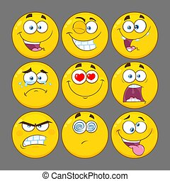 Funny Yellow Cartoon Emoji Face Series Character Set 1. Collection