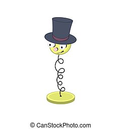 Funny yellow cartoon spring on the stand - with eyes, mouth and head in a hat cylinder.