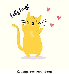 Funny yellow cat that wants to hug
