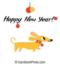 Funny yellow dog symbol of year 2018. Flat style, vector illustration isolated on a white background. Happy New Year lettering
