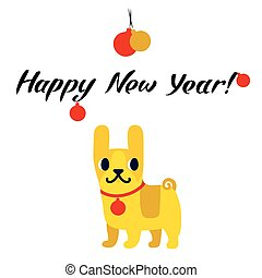 Funny yellow dog symbol of year 2018. Flat style, vector illustration isolated on a white background. Happy New Year lettering.