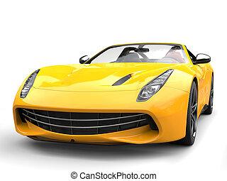 Funny yellow modern sports car - front view closeup shot