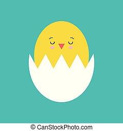 Funny yellow newborn chicken in broken egg shell kawaii